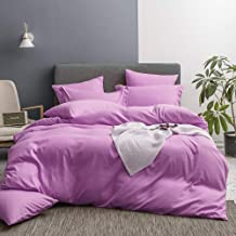 Merryfeel Bedding Duvet Cover 3 Piece Set,Ultra Soft Brushed Microfiber Hotel Collection – Comforter Cover with Button Closure and 2 Pillow Shams, Orchid Purple -Full/Queen