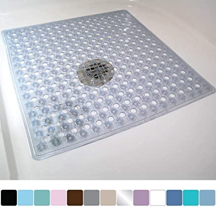 Gorilla Grip Original Patented Bath, Shower, Tub Mat (21x21) Machine Washable, Antibacterial, BPA, Latex, Phthalate Free, Square Bathroom Mats with Drain Holes, Suction Cups (Clear)