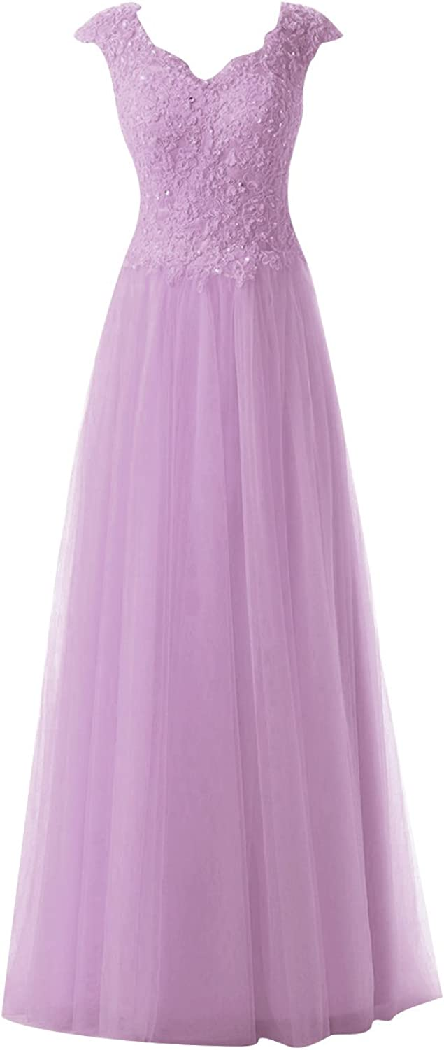 Cdress Tulle Long Evening Dresses Lace Applique Bridesmaid Prom Gowns Cap Sleeves Formal Dress
