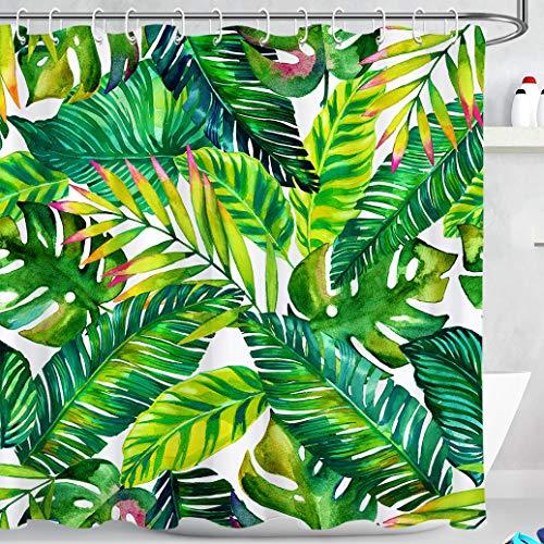 LB Tropische Grüne Blätter Duschvorhang 180X180cm Palme Banane Blatt,Weiß Bad Gardinen mit Vorhanghaken Polyester Wasserdicht Anti Schimmel Badezimmer Vorhang