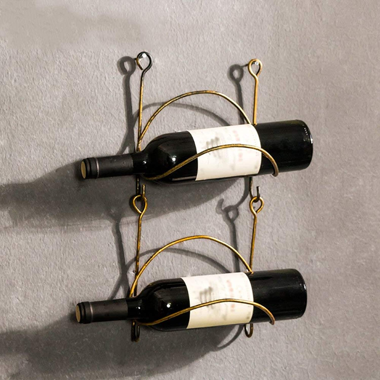 Red Wine Shelf Wrought Iron Wine Rack Wall Mount Bottle Storage Organizer Rustic Home Decor Curved Finish (Does Not Contain Wine Bottles),2Racks