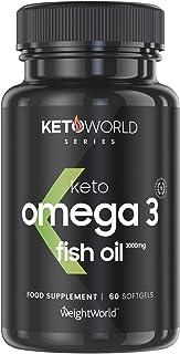 Omega 3 Aceite de Pescado Puro 3000 mg - 990 mg de EPA + 660 mg DHA - Suplemento para la Salud de Cerebro, Hígado y Corazón, Controla Colesterol - Combina con tu Dieta Keto, 60 cápsulas, KetoWorld