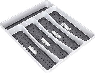FYY Range-Couverts pour tiroir, 5 Compartiments Organisateur de tiroir, Plastique sans BPA Range-Couverts pour Cuisine, Sa...