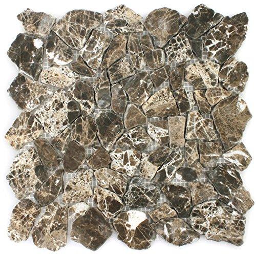 Marmor Bruch Mosaik Fliesen Impala Braun Geflammt