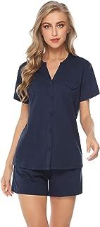 iClosam Women's Pajamas Set Short Cotton V-Neck Soft Loungewear PJ Set Nightwear Sleepwear for Summer S-XL