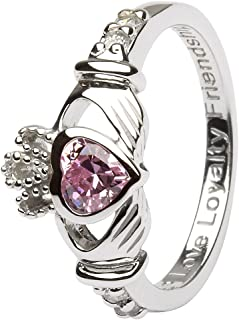 October Birth Month Sterling Silver Claddagh Ring LS-SL90-10. Made in Ireland.