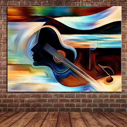 IPLST@ Moderno arte muraria Decorazione Astratto Violino Strumento musicale Pittura ad olio Parete Decorazione Quadro su tela -24x36inch(Nessuna cornice, senza barella)