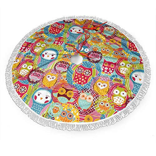 Nafanio Cute Owls Pattern Christmas Tree Skirt 36 Inches Polyester Withstand Wear Xmas Tree Home Decor for Christmas Home Decorations