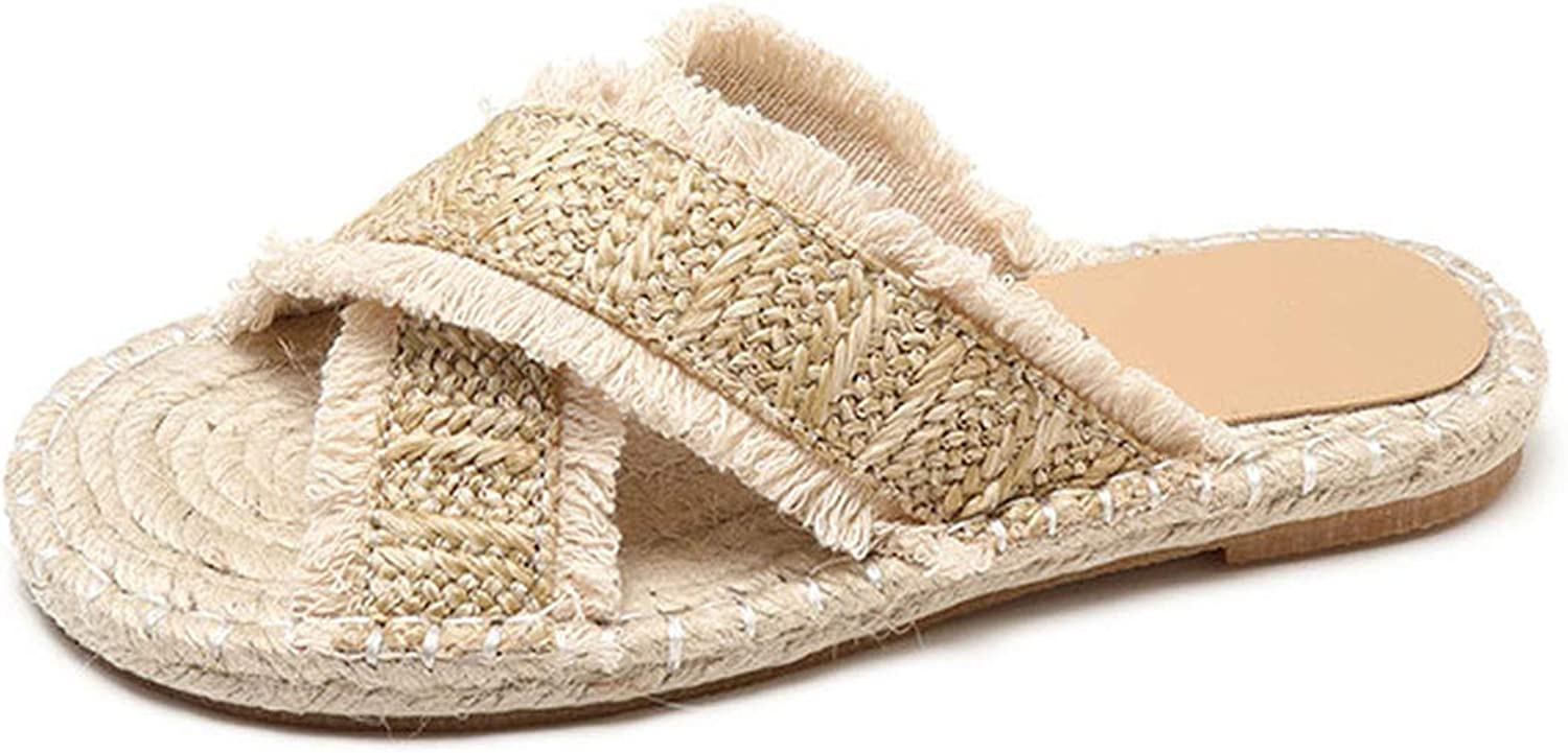 Special shine-shop shoes Women Slippers Summer Rural Amgoldus Feelings Woven Straw Sandals Ladies Beach Slippers