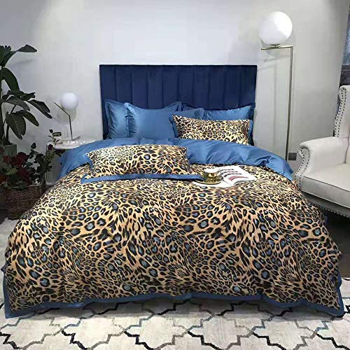 FACAI Duvet Cover Set King Size, Blue Duvet Covers Double Bed 4 Pieces Leopard Bedding Set Include 2 Pillowcases +1 Flat Sheet 245 × 270 Cm & Quilt Cover 220×240cm 100% Long Staple Cotton