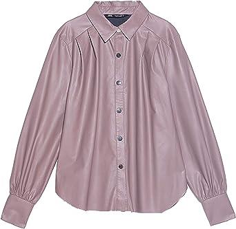 Zara 4387/229/942 - Camisa de Piel sintética para Mujer ...