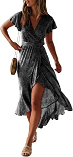 df4d8a194fbb ZESICA Women's Bohemian Floral Printed Wrap V Neck Short Sleeve Split Beach  Party Maxi Dress