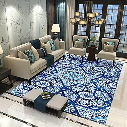 LBMTFFFFFF Alfombra Home de lujo, patrón de mármol, suave y agradable al tacto, rectangular, gran alfombra para salón, dormitorio, 120 x 160 cm
