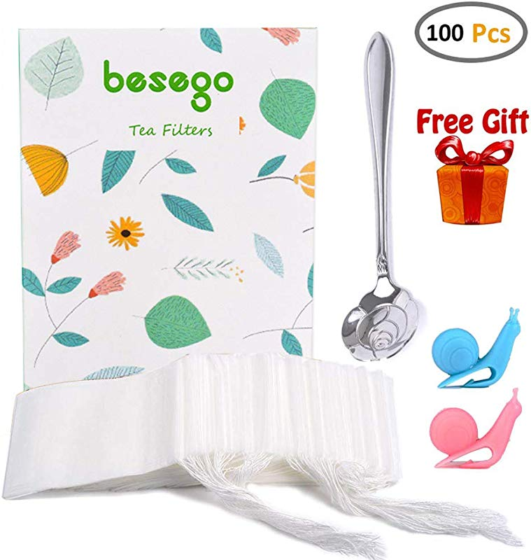 Besego 100Pcs Drawstring Tea Filter Bags With Spoon And 2 Cup Clip Safe Natural Material Disposable Empty Tea Infuser Bag For Herb And Loose Leaf Tea 1 Cup Capacity 3 2 4 2in