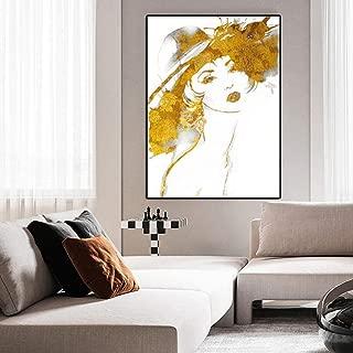 Kit de pintura de taza Pintura de lienzo Resumen Pop Art Retrato Carteles e impresiones Mujeres doradas Cuadros de pared para sala de estar Cuadros Home Decor-30x40cm_Unframed_D_1035_Abstract_-1