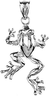 925 Sterling Silver High Polish Frog Necklace Pendant