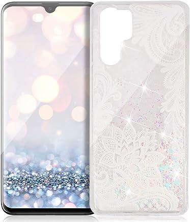 FNBK Custodia compatibile con Huawei P30 Pro Custodia Glitter Cover Luxus Morbida TPU Bumper Silicone Sabbia Clear Custodia per Huawei P30 Pro Cellulare Custodia, Pizzo Fiore, Spitze Blume