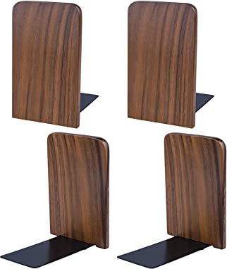 Nicunom 2 Pairs/4 Pieces Wood Bookends, Non Skid Black Walnut Book Stand for Home Office School, L-Shaped Book Ends Perfect f