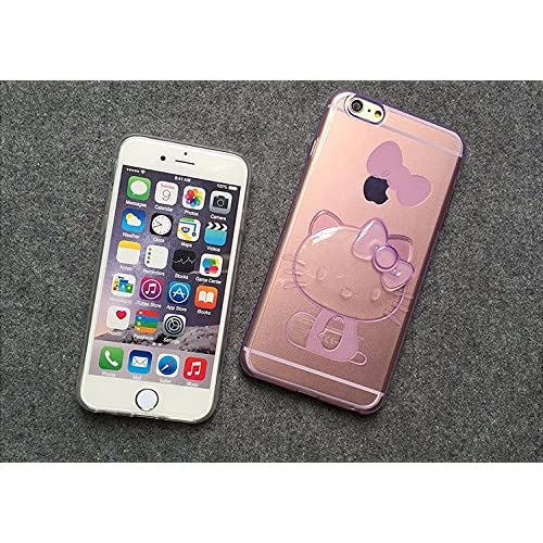 852007236 Cute Ultra Thin 3d Stereo Transparent Bowknot Hello Kitty Ultra Thin TPU Case  Cover for Iphone