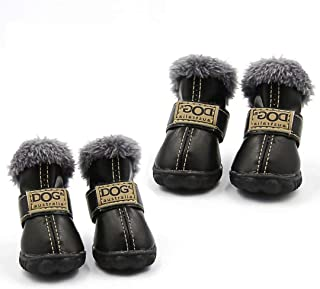 Qiao Niuniu Dog Shoes Warm Boots Winter Waterproof Skidproof Leather Puppy Paw Protectors Booties for Snow/Ice Pavement