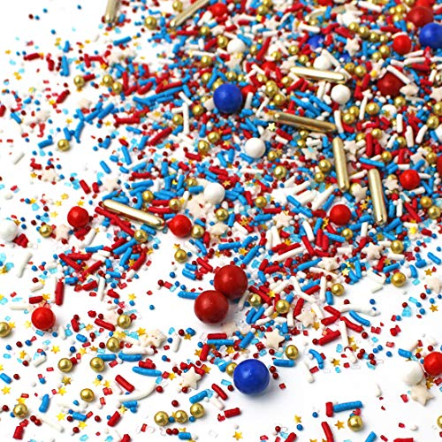 Old Glory II| 4th of July Independence Day Patriotic Star Red White Blue Colorful Candy Sprinkles Mix Baking Edible Cake Decoration Cupcake Topper Cookie Decorating Ice Cream Topping, 2OZ(Sample Size)