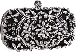 HUIfenghe Women's New Clutch Beads Banquet Bag Shoulder Chain Bag Wild Dress Wedding Party Bridesmaids Rhinestone Crystal Evening Bag Clutch Size: 18.5 * 5 * 10cm (Color : Black)