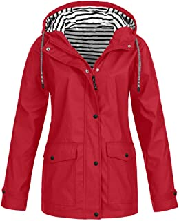 E-Scenery Women Coat Solid Rain Plus Sunscreen Outdoor Sports Hooded Raincoat Windproof Jacket