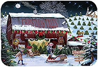 Caroline's Treasures PTW2002LCB Christmas Tree Farm Glass Cutting Board, Large, Multicolor