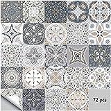 adesivi per piastrelle da parete autoadesivi 72 pezzi adesivi stile marocchino impermeabili per arredamento bagno cucina fai da te (72 pezzi, 15×15cm)