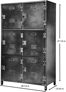 Allspace 6 Door Steel Storage Locker with Dark Weathered Finish, Vintage, Industrial, for Home, Office, School, Dorm, Teen, Crafts, Shop, Vented, Lockable, Stackable, Durable - 240037