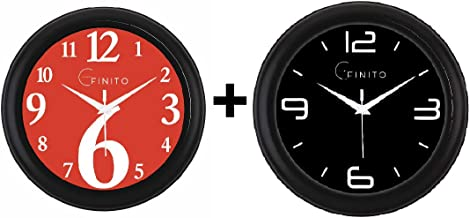Efinito Wall Clock for Home/Living Room/Office/Bedroom/Living Room Fancy Pack of 2-10 Inch
