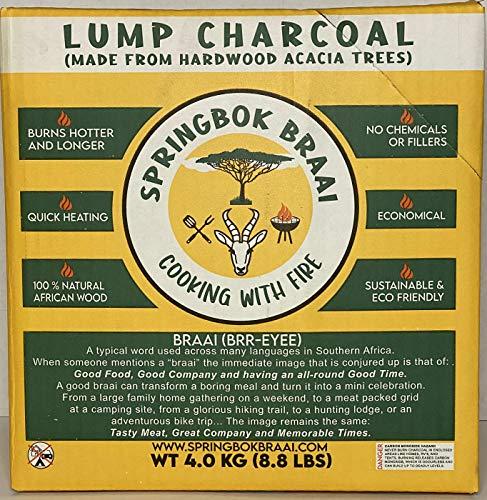 Springbok Braai Premium Quality Acacia Wood All-Natural Lump Charcoal, 8.8 Pounds