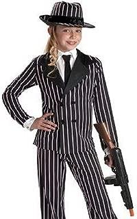 Kids Gangster Girl Costume Child Pinstripe Suit +Hat
