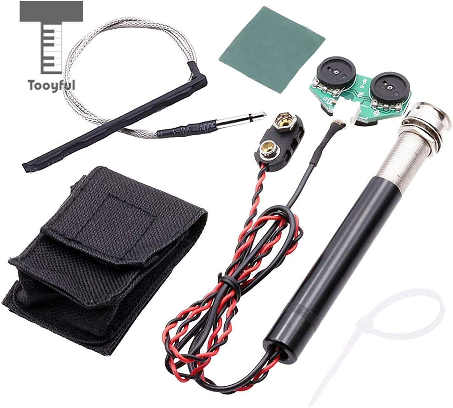 SalaFnt  1 Pcs Active Volume&Tone Endpin Jack Preamp Piezo Pickup Kit for Acoustic Guitar Ukulele