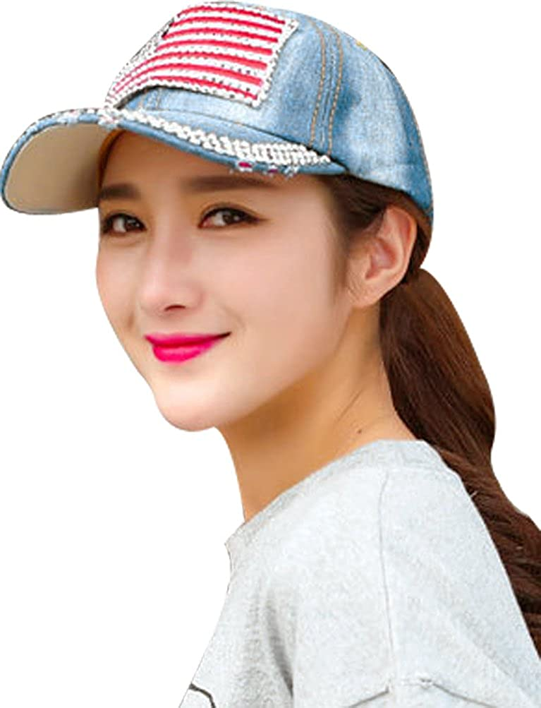 Bienvenu American Flag Rhinestone Jeans Denim Baseball Adjustable Baseball Cap Hat
