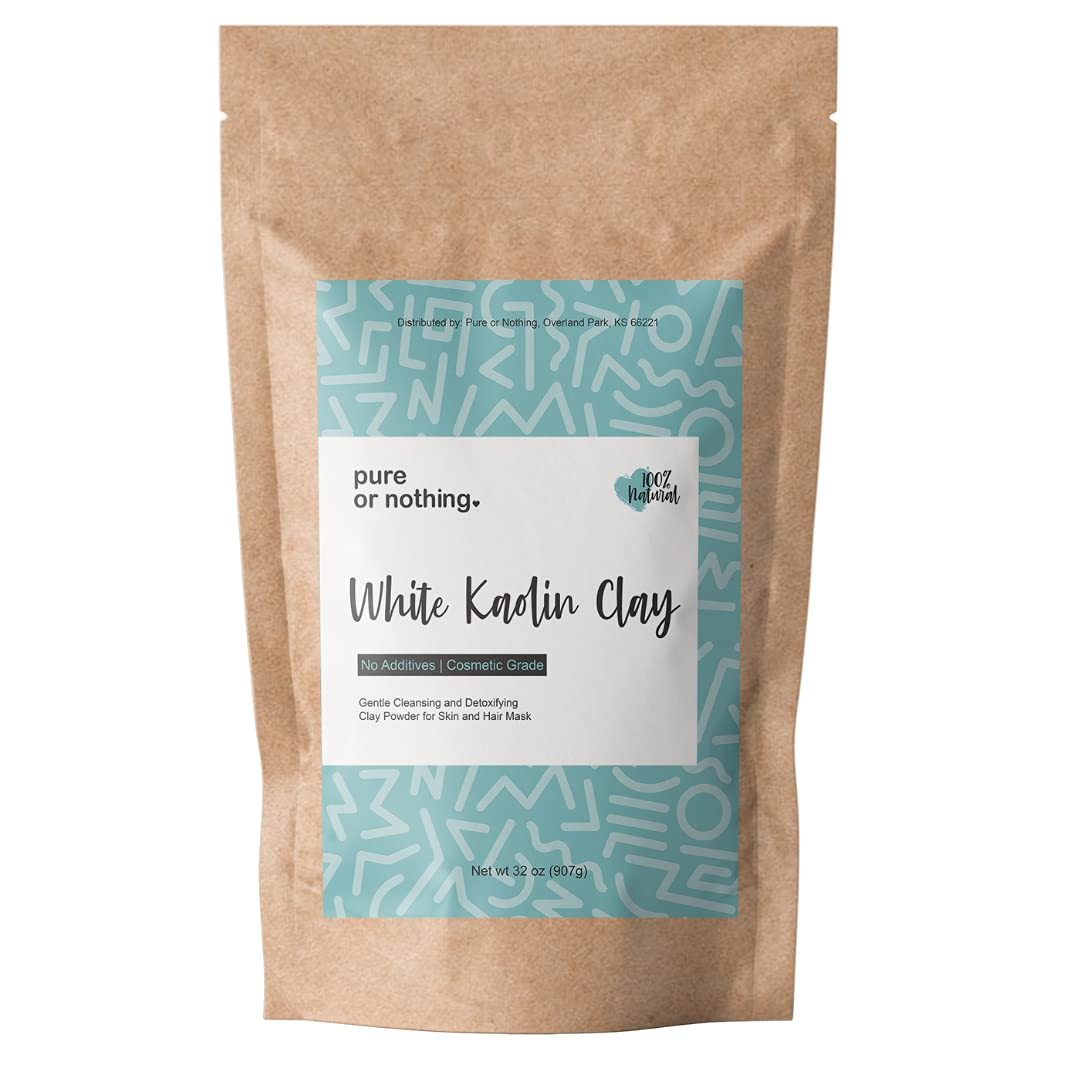 Kaolin White Clay 2 lb   100% Natural Cosmetic Grade Powder   Great for Face Mask, Facial, Soap Making, Bath Bomb, Deodorant and Makeup   Product of USA