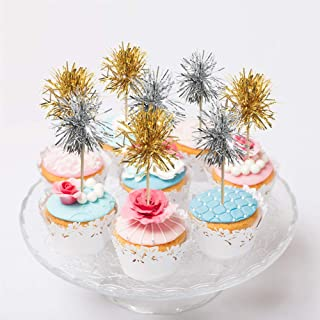 Sparkle Silver and Gold Tinsel Cakecup Toppers Cake Decoration for 4th July National Labor Days Independence Party Graduation Wedding Birthday Valentine's Day Celebration New Year Holiday 24pcs