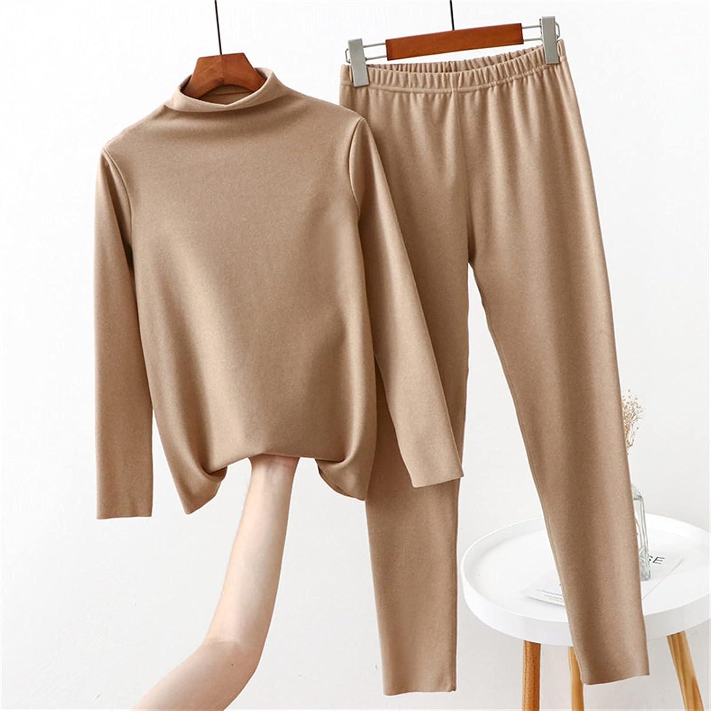Women Thermal Underwear Turtleneck Thick Long Winter Home Clothes Female Winter Pajamas Set (Color : Khaki, Size : 5XL fit (95-110) kg)