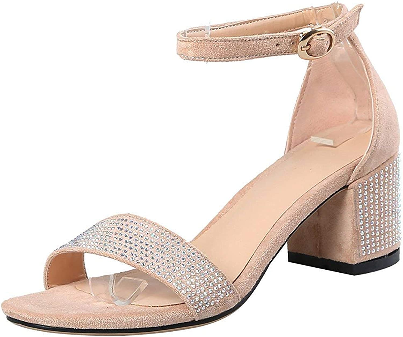 Lelehwhge Women's Elegant Rhinestone Ankle Strap Sandals - Open Toe Solid color Faux Suede - Buckle Block Medium Heel shoes Apricot 5 M US