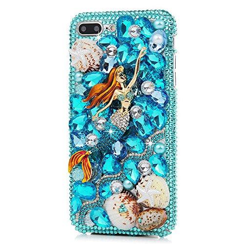STENES iPhone 8 Plus Case - 3D Handmade Luxury Series Crystal Pretty Mermaid Girls Starfish Shell Sparkle Rhinestone Cover Bling Case for iPhone 7 Plus/iPhone 8 Plus Retro Bows Dust Plug - Blue