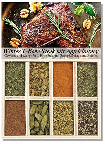 Winter T-Bone mit Bratapfel-Chutney – 8 Gewürze für T-Bone Steaks mit Bratapfelbeilage und Bohnen (40g) – in einem schönen Holzkästchen – mit Rezept und Einkaufsliste – Geschenkidee– von Feuer & Glas