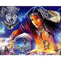 大人のためのジグソーパズル3000ピースインディアンの部族の人々と動物木製のパズルは家族のためにリラックスする自由な時間を設定します