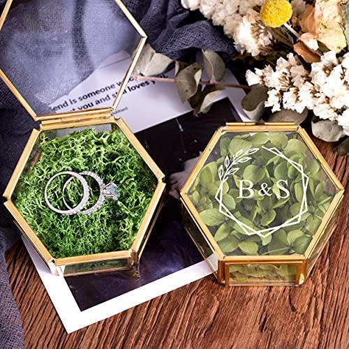 Scatola per anelli di vetro personalizzata, scatola per fedi nuziali personalizzata, scatola per portatore di anelli geometrici in oro, scatola per anelli di fidanzamento