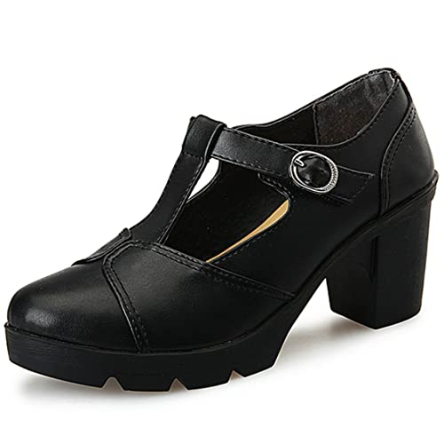 e0ee6888832 DADAWEN Women s Classic T-Strap Platform Mid-Heel Square Toe Oxfords Dress  Shoes