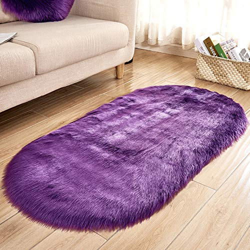 m·kvfa Soft Rug Chair Cover Artificial Sheepskin Wool Warm Hairy Carpet Seat Mats Rug Home Stool Carpet Area Rugs Mats for Bedroom Livingroom (Purple)