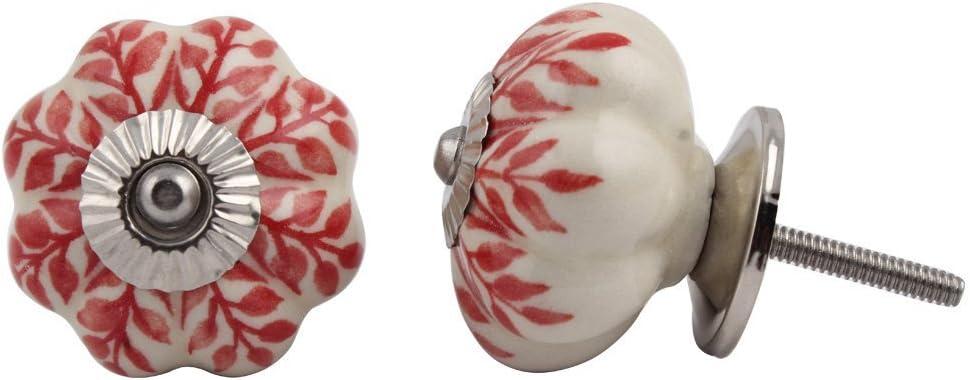 Set of 5% OFF 12 Pieces Leaf Floral Knobs Ceramic famous White Cabinet Furnitu