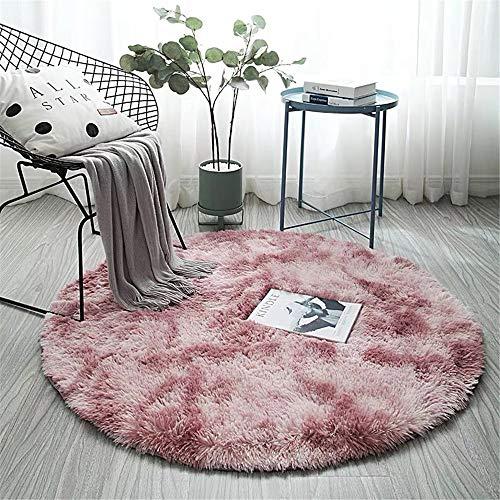 TROYSINC Runde Teppich,Shaggy Zimmerteppich Rund Modern Designe Teppich für Kinderzimmer, Schlafzimmer, Wohnzimmer (Pink,160cm)