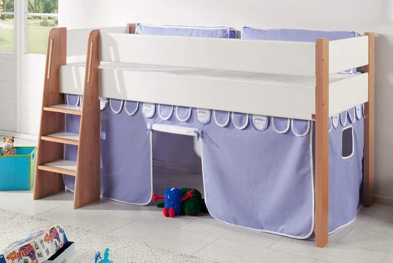 Froschknig24 Hochbett SAM 1 Kinderbett Spielbett halbhohes Bett Buche Wei Stoff Blau Boy, Matratze mit