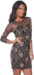 e31e327f254f John Zack Black/Golden Floral Lace Mini Dress, 3/4 Length Sleeves,