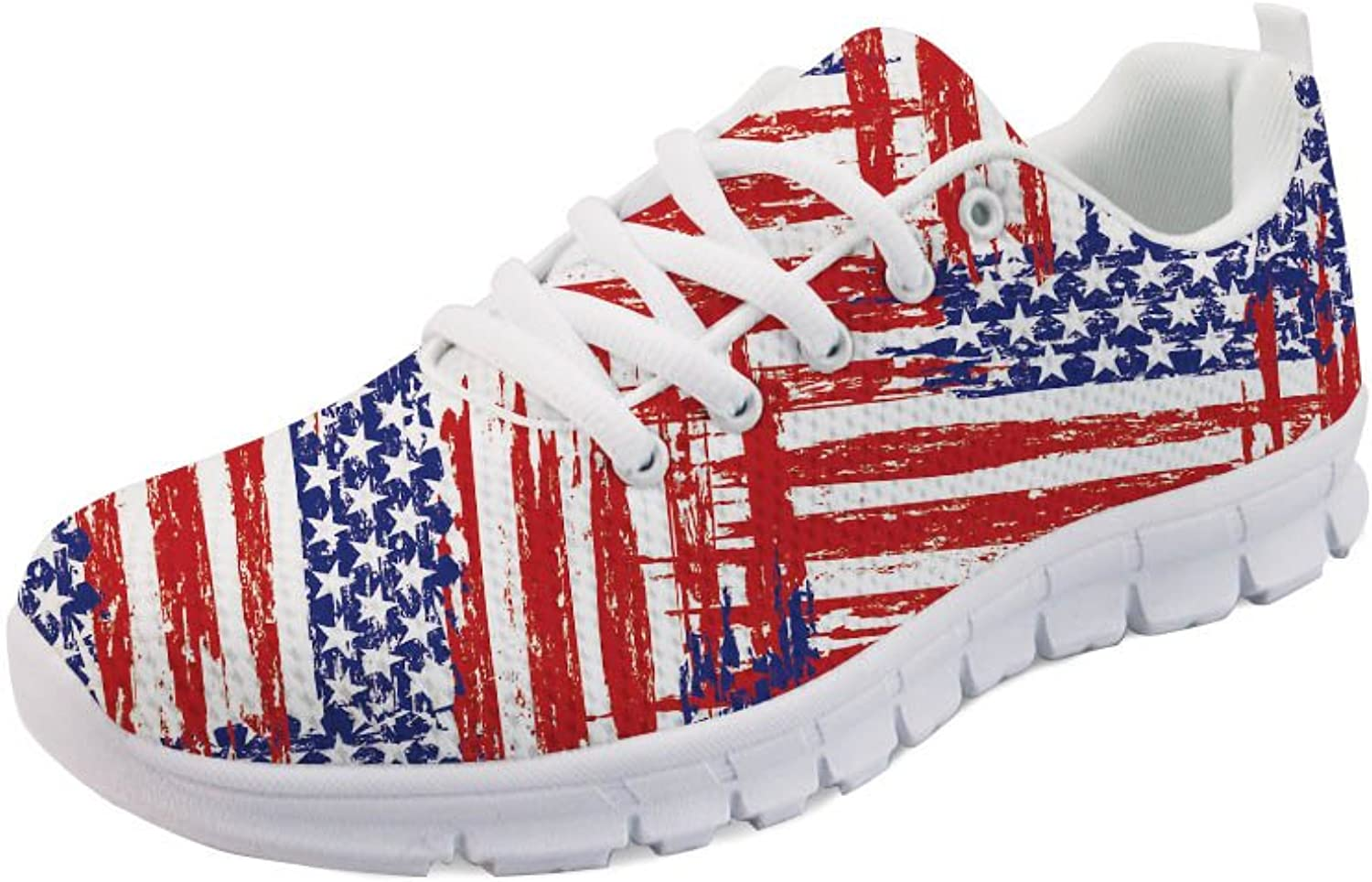 INSTANTARTS USA Flag Print Fashion Sneaker Women Sport shoes Lace Up Flats